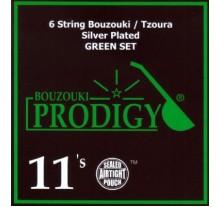ΧΟΡΔΕΣ ΣΕΤ 6 ΜΠΟΥΖΟΥΚΙΟΥ - ΤΖΟΥΡΑ  PRODIGY  GREEN SILVER 011